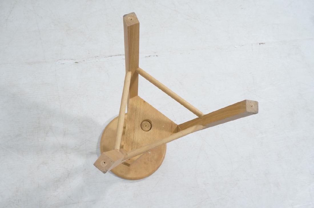 4 Round Wood Swivel Stools Adjustable Tripod Base - 6