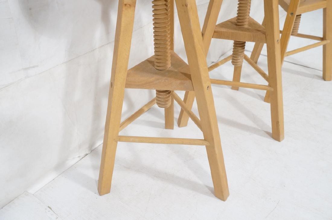 4 Round Wood Swivel Stools Adjustable Tripod Base - 8