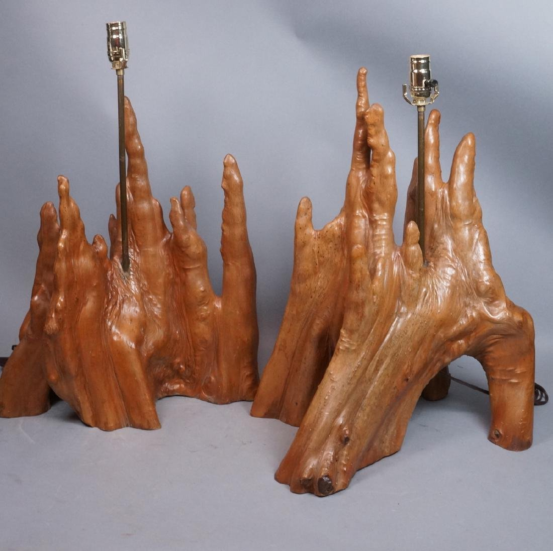 Pr Cypress Tree Root Form Table Lamps. Driftwood.