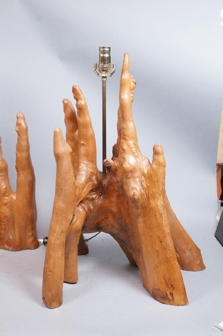 Pr Cypress Tree Root Form Table Lamps. Driftwood. - 4