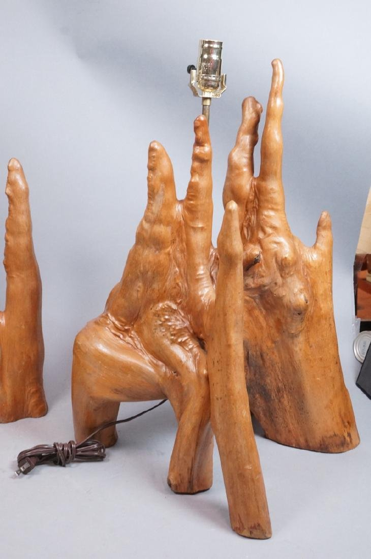 Pr Cypress Tree Root Form Table Lamps. Driftwood. - 5