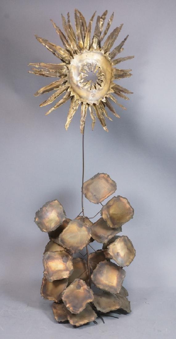 Lg Brutalist Metal Sunflower Sculpture. Torched.