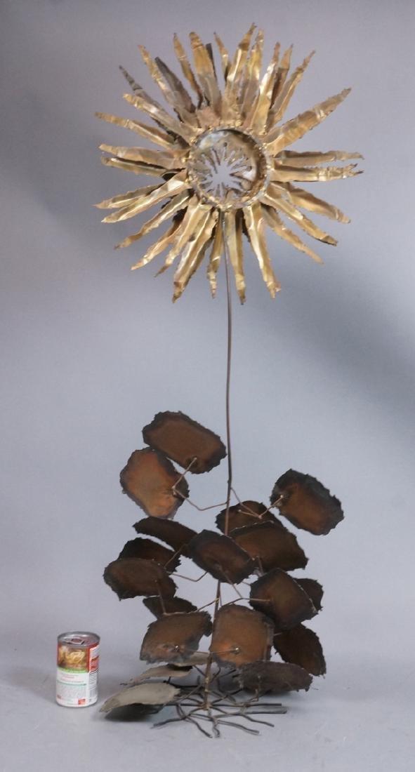 Lg Brutalist Metal Sunflower Sculpture. Torched. - 2