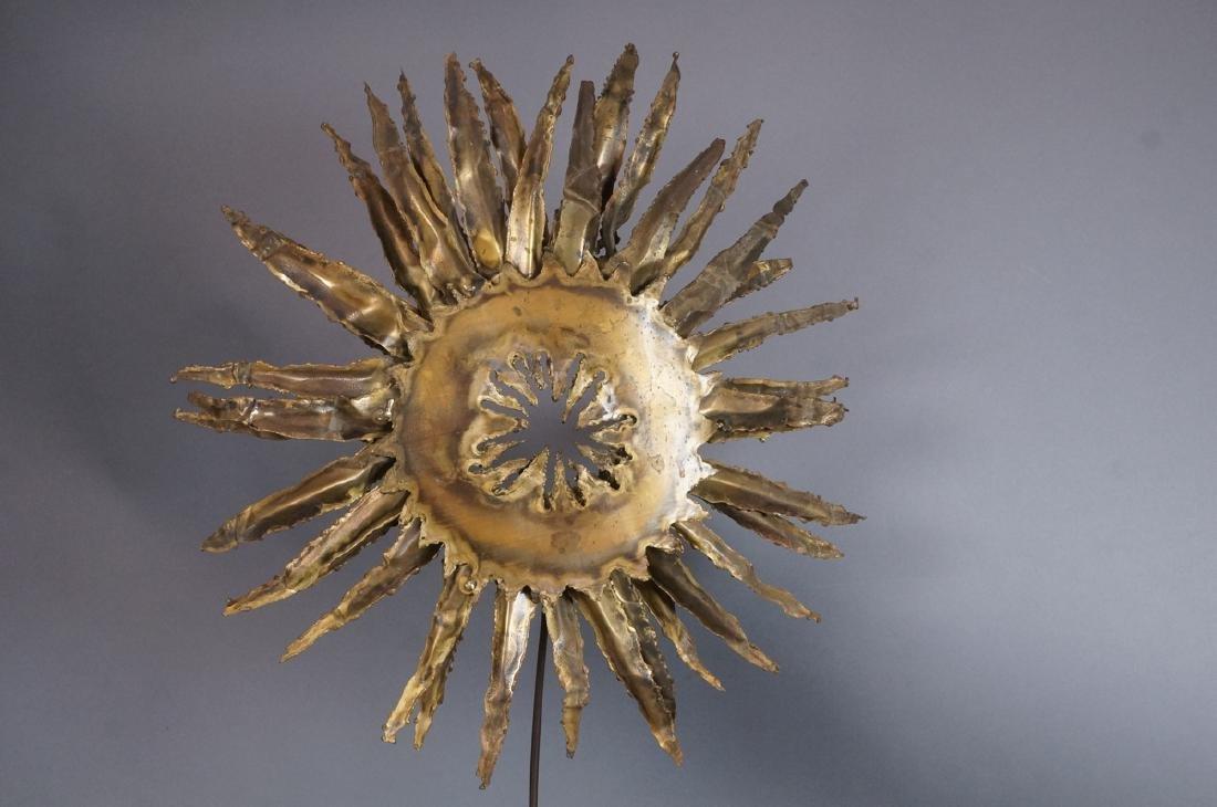 Lg Brutalist Metal Sunflower Sculpture. Torched. - 6