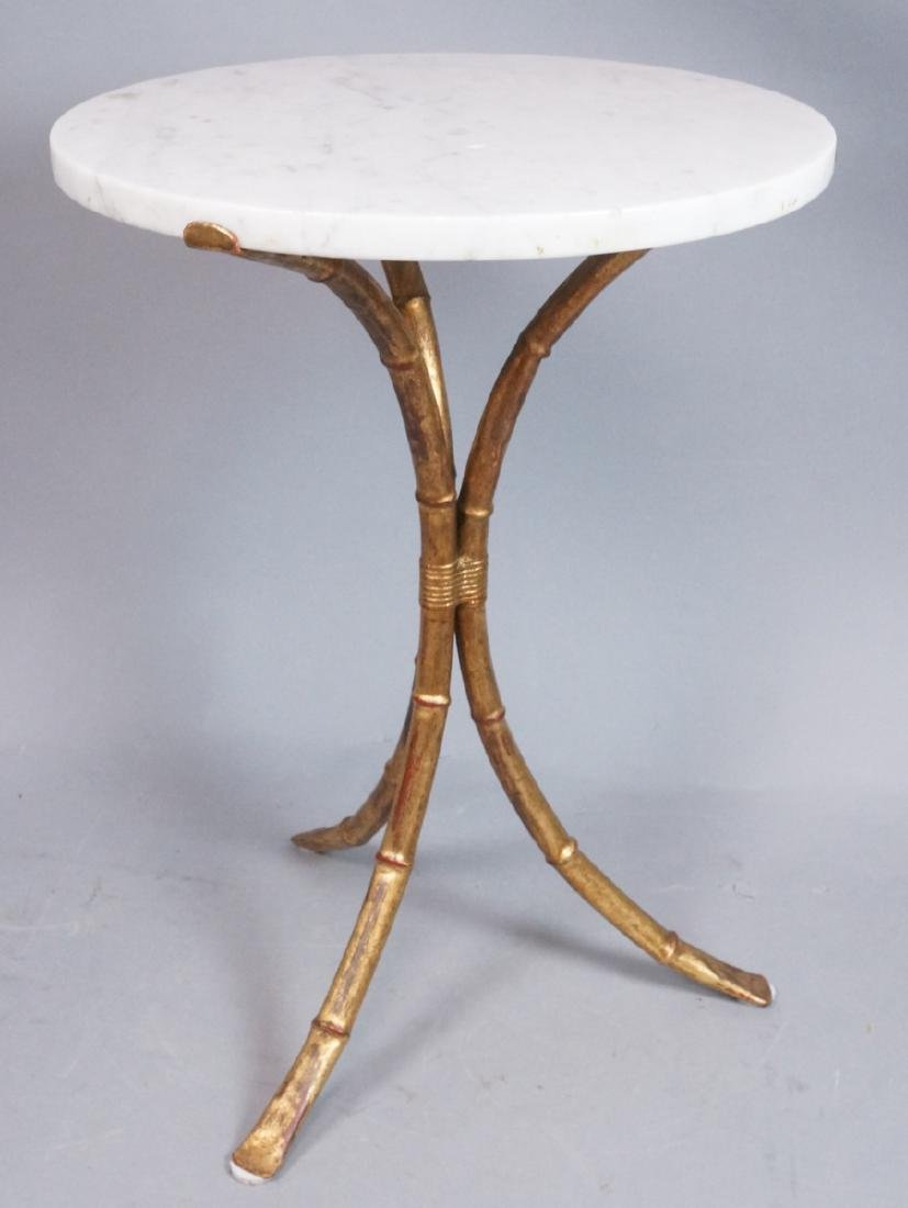 Faux Bamboo Round Marble Top Side Table. Gilt fin