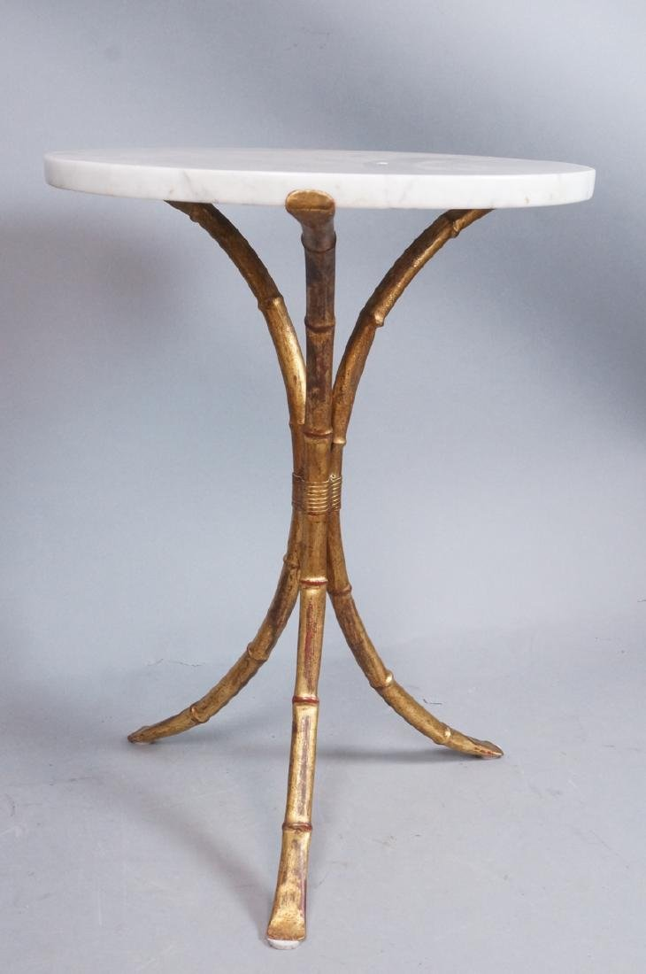 Faux Bamboo Round Marble Top Side Table. Gilt fin - 3
