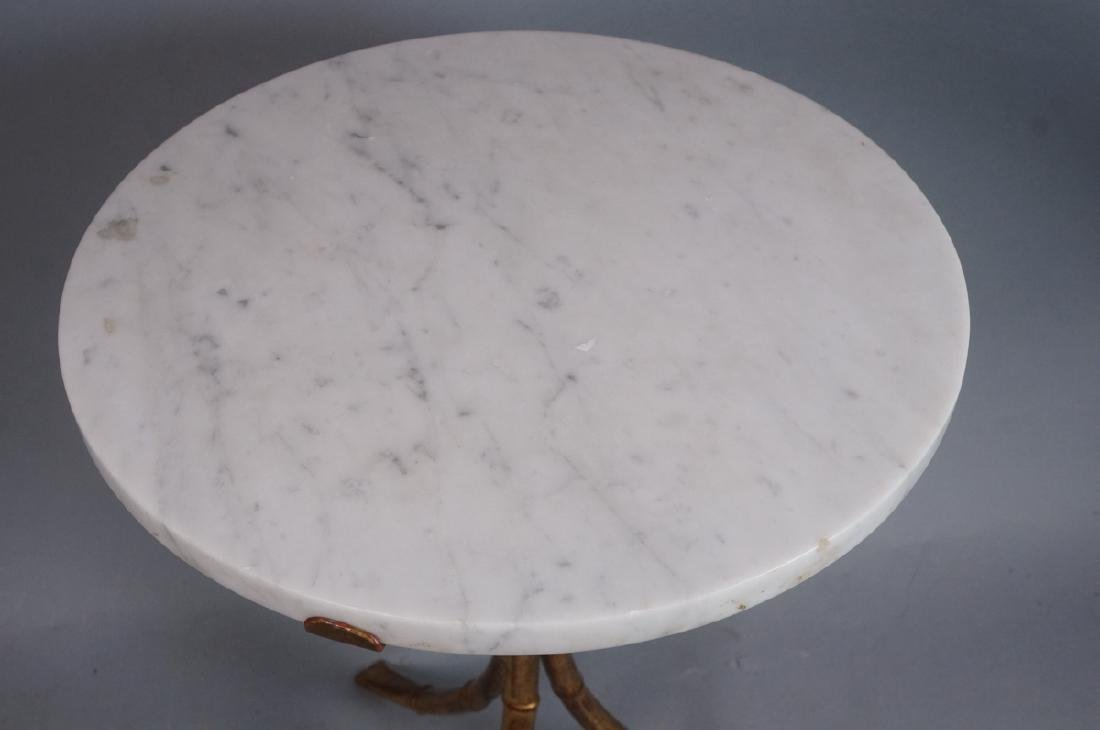 Faux Bamboo Round Marble Top Side Table. Gilt fin - 4