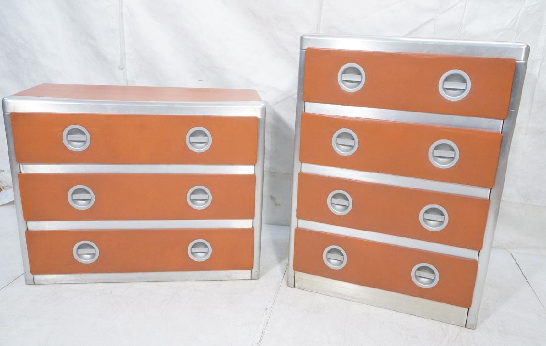 2pc Retro Dressers Chests of Drawers. Aluminum fr