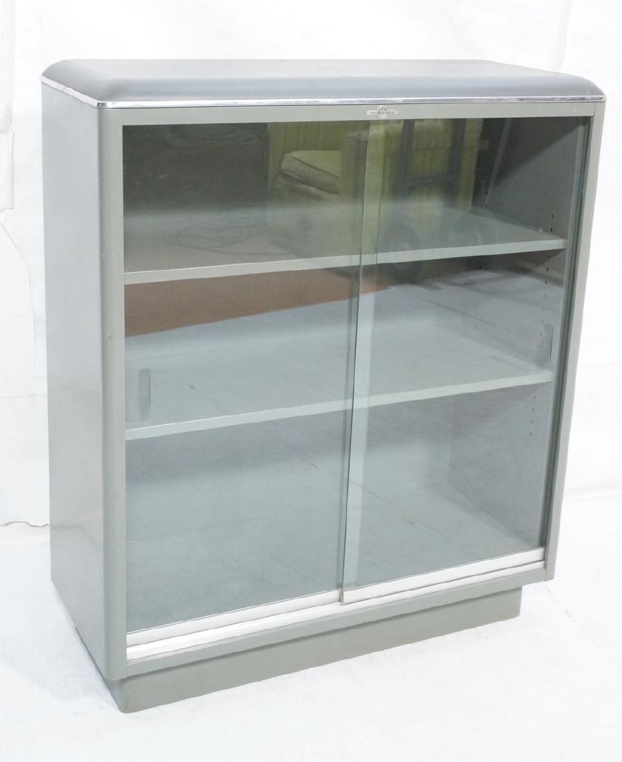 GLOBE WERNICKE Metal Case Glass Door Cabinet. Gra