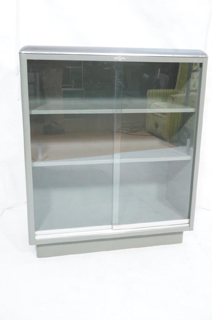 GLOBE WERNICKE Metal Case Glass Door Cabinet. Gra - 2