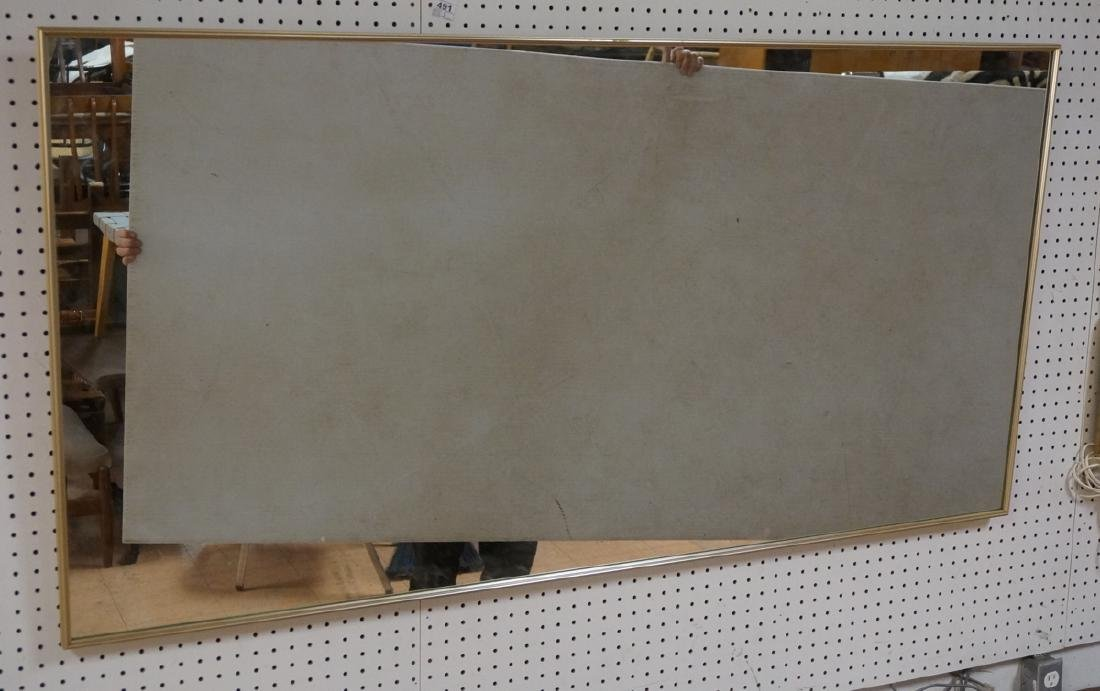 Large Mid Century Wall Mirror. Thin Metal Frame. - 2