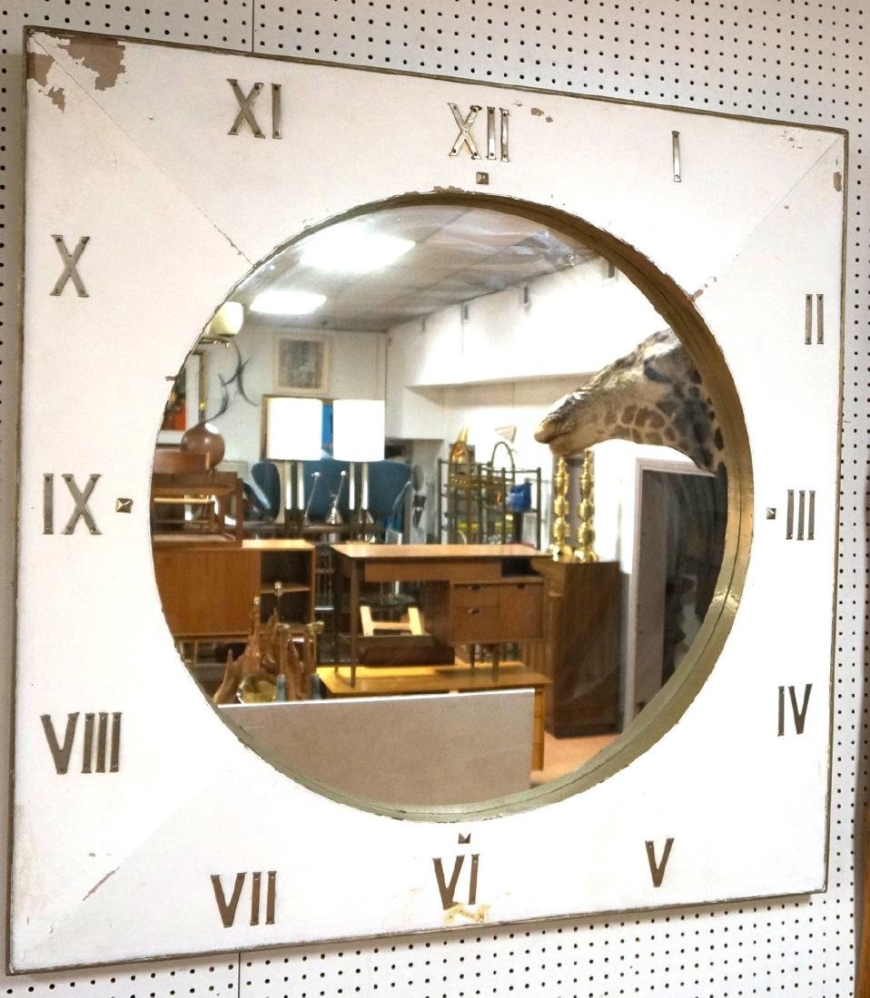 Lg Industrial Wood Clock Form Wall Mirror. White