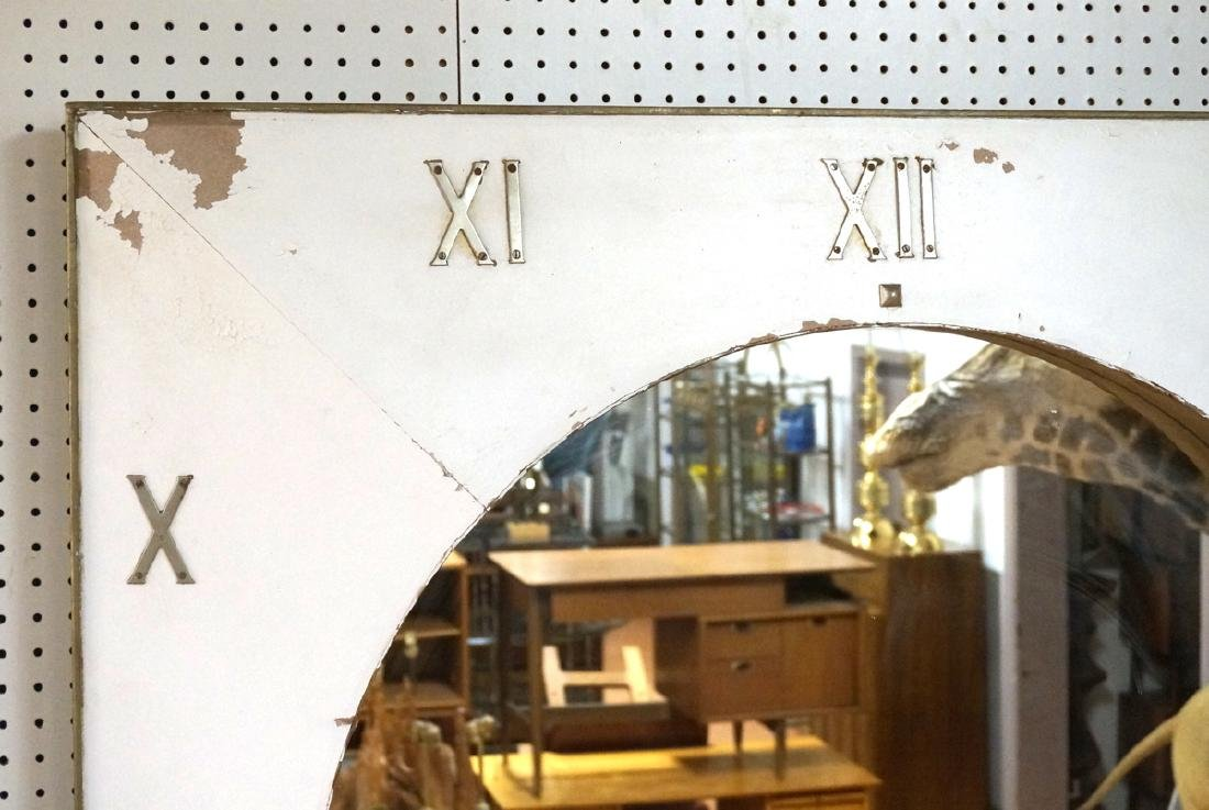 Lg Industrial Wood Clock Form Wall Mirror. White - 2