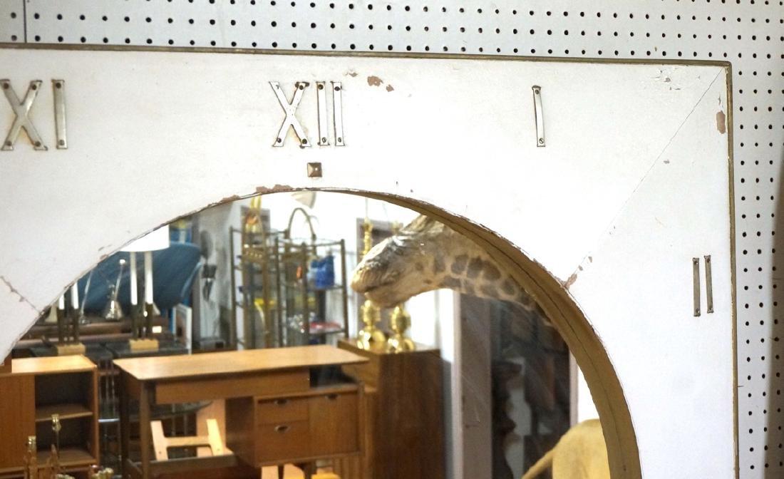 Lg Industrial Wood Clock Form Wall Mirror. White - 3