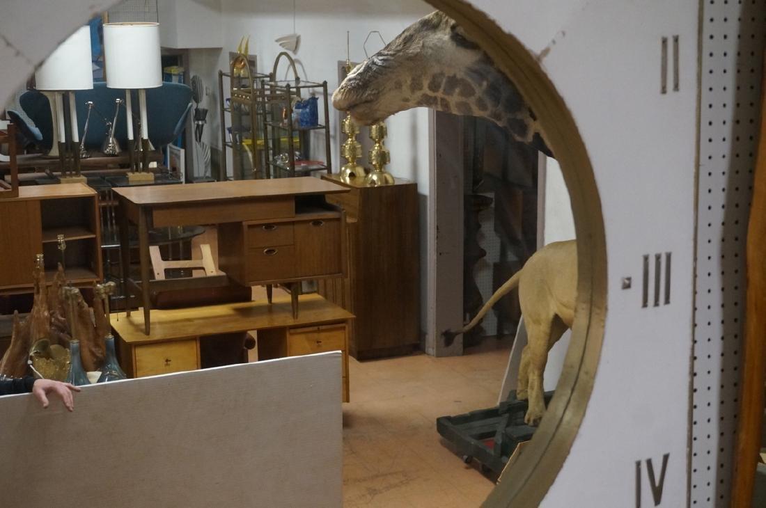 Lg Industrial Wood Clock Form Wall Mirror. White - 4