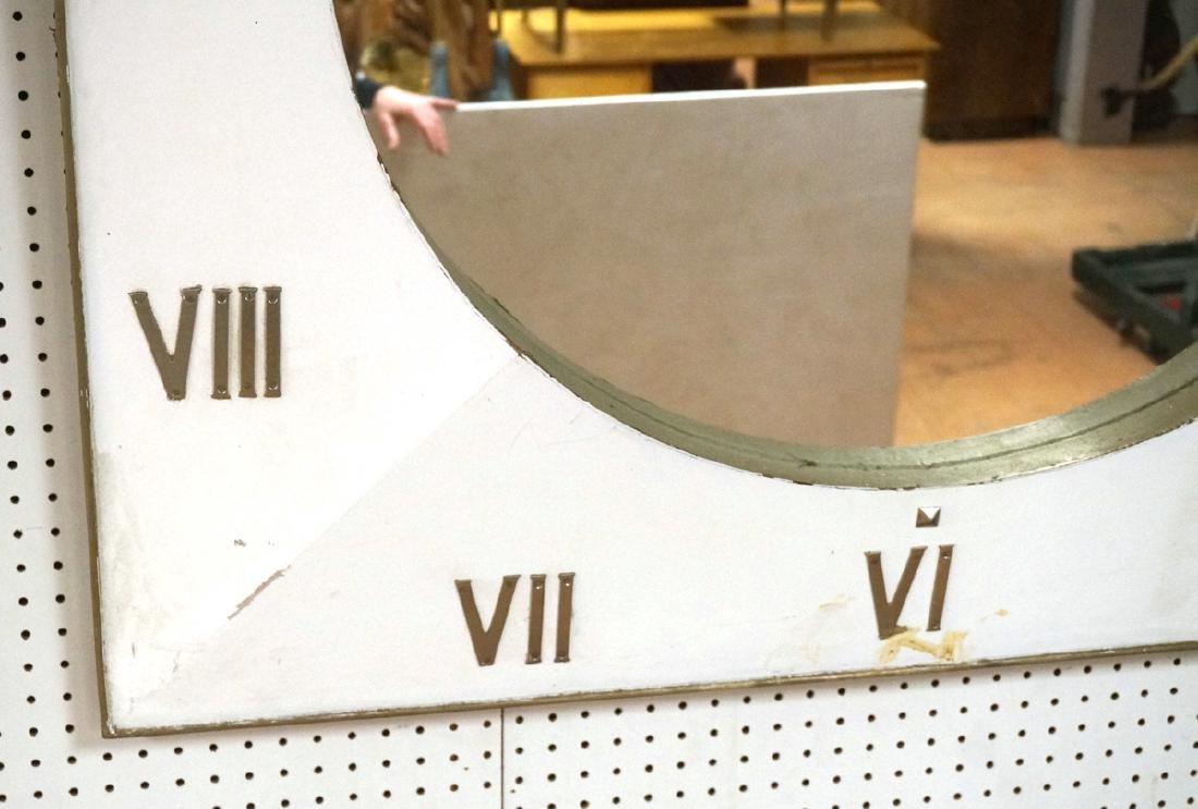 Lg Industrial Wood Clock Form Wall Mirror. White - 6