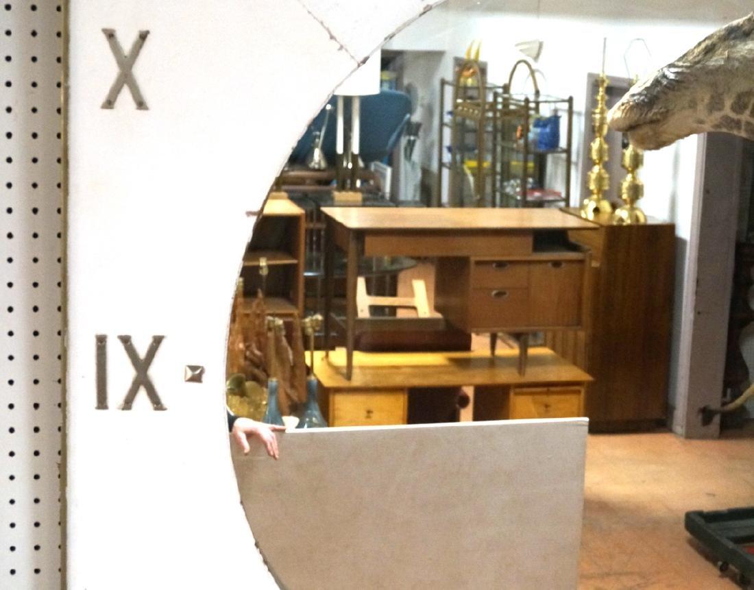 Lg Industrial Wood Clock Form Wall Mirror. White - 7