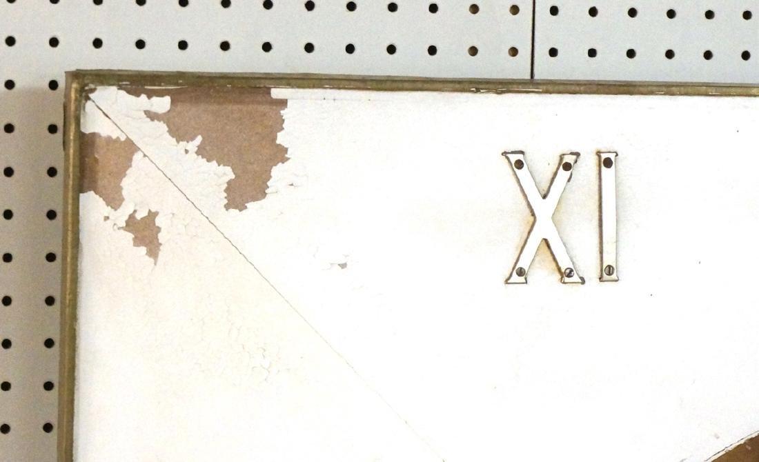 Lg Industrial Wood Clock Form Wall Mirror. White - 8