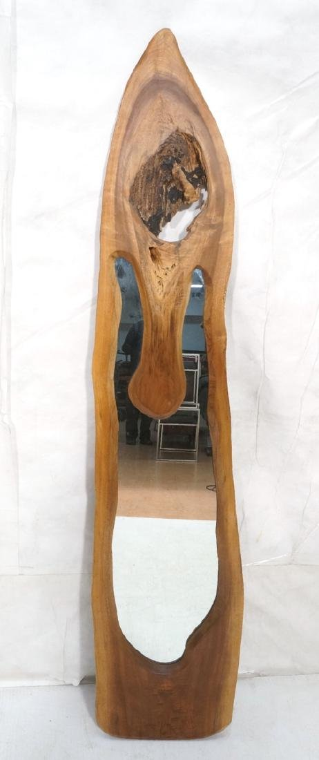 American Modern Walnut Freeform Frame Wall Mirror