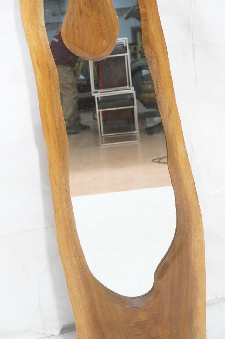American Modern Walnut Freeform Frame Wall Mirror - 4