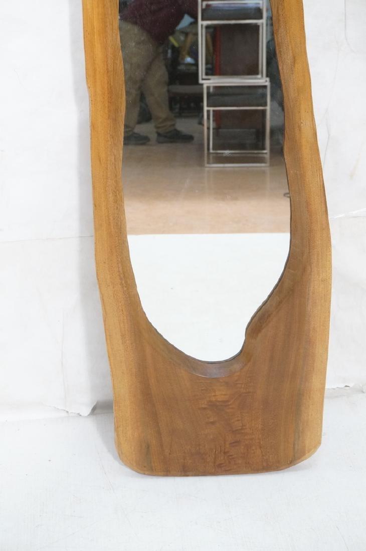 American Modern Walnut Freeform Frame Wall Mirror - 5