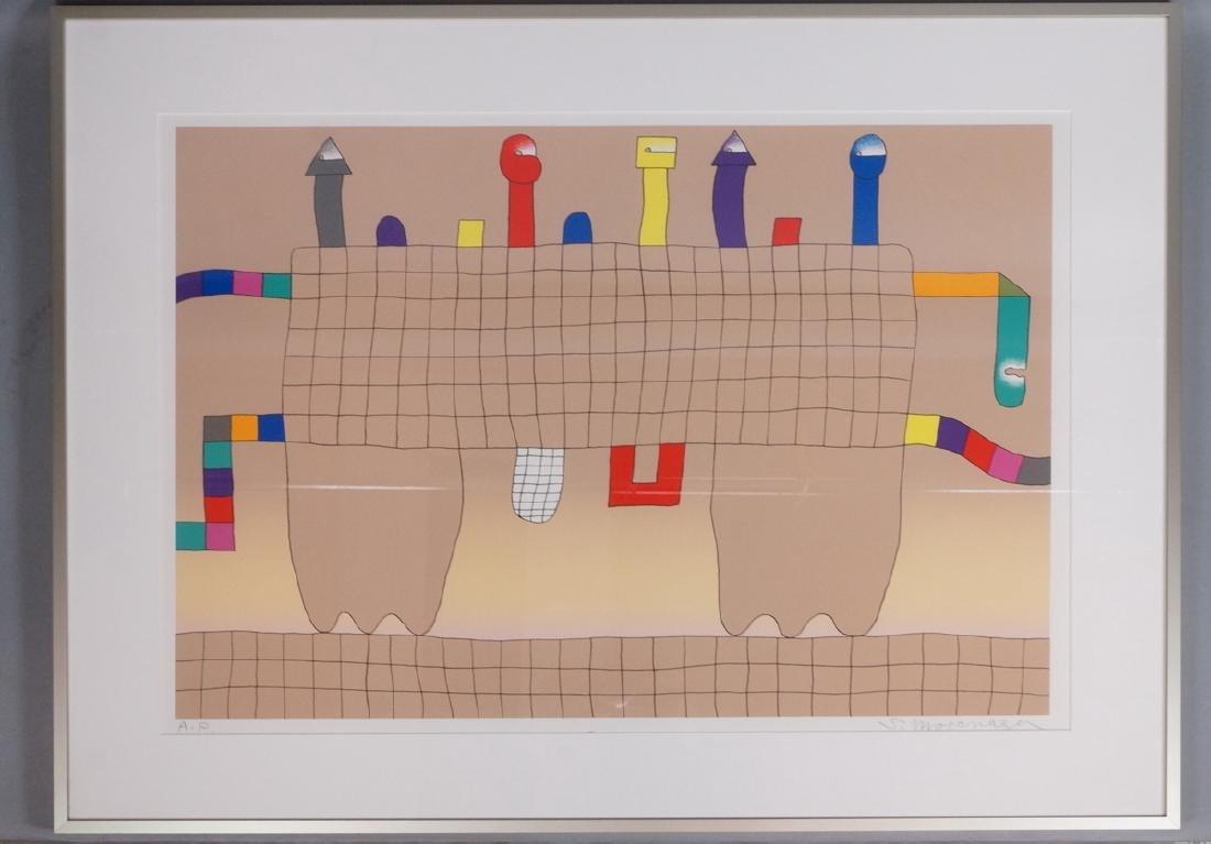 Signed Sadamasa Motonaga Figural Modern Art Print - 2