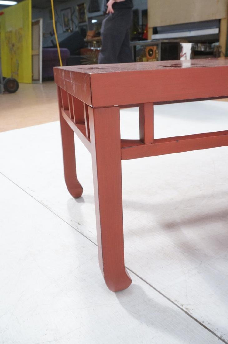 Red Lacquer Asian Style Coffee Cocktail Table. Sq - 10