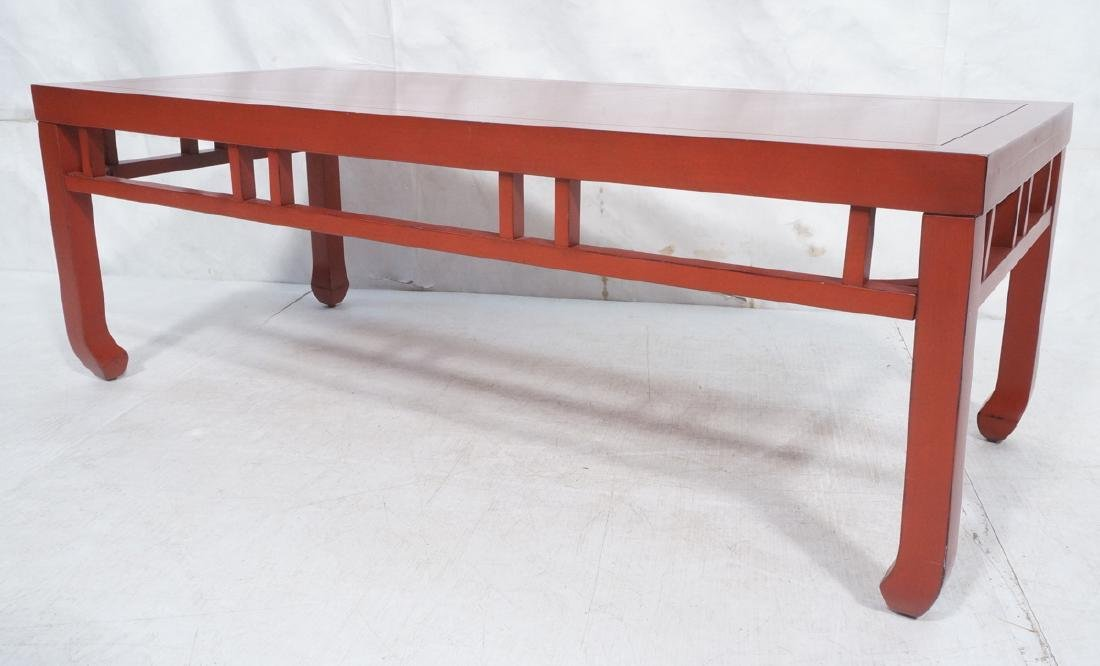 Red Lacquer Asian Style Coffee Cocktail Table. Sq