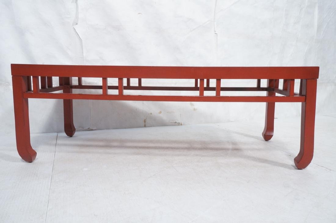 Red Lacquer Asian Style Coffee Cocktail Table. Sq - 2