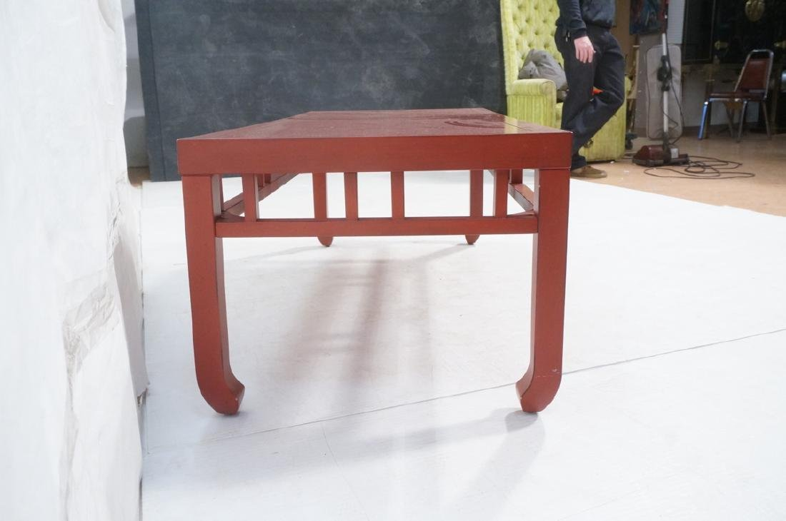 Red Lacquer Asian Style Coffee Cocktail Table. Sq - 3