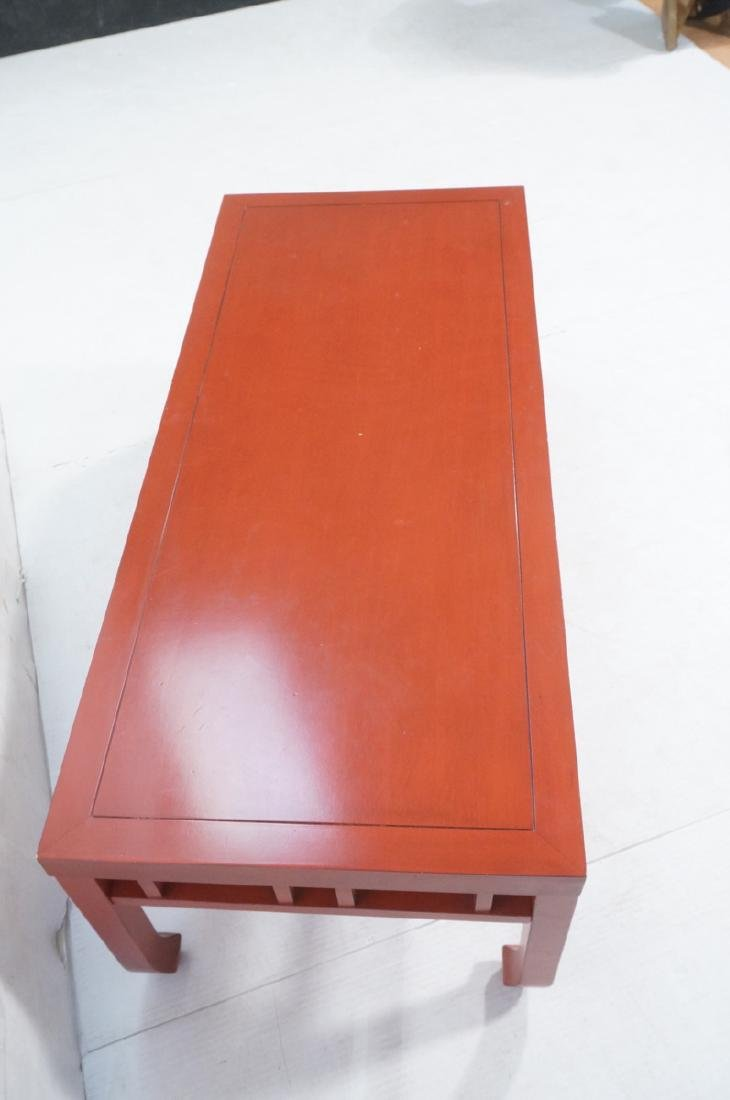Red Lacquer Asian Style Coffee Cocktail Table. Sq - 4