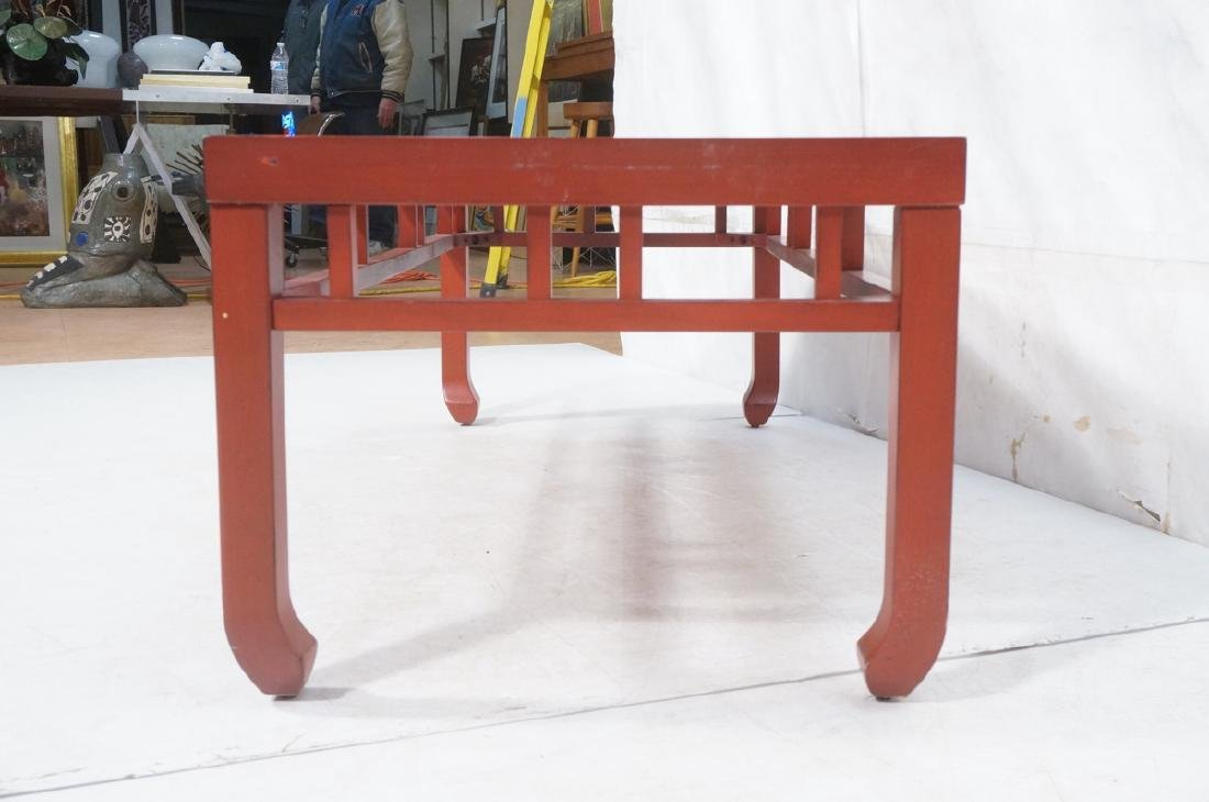 Red Lacquer Asian Style Coffee Cocktail Table. Sq - 5