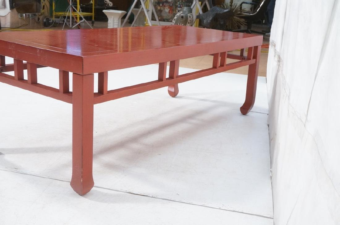 Red Lacquer Asian Style Coffee Cocktail Table. Sq - 6