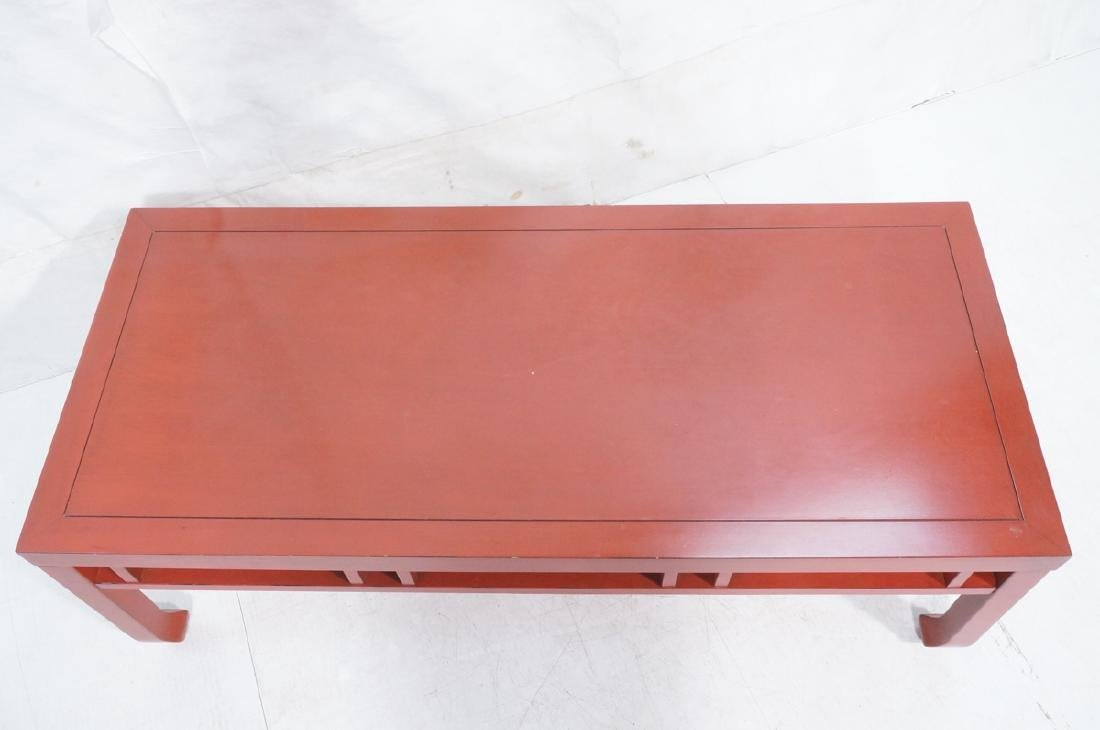 Red Lacquer Asian Style Coffee Cocktail Table. Sq - 7