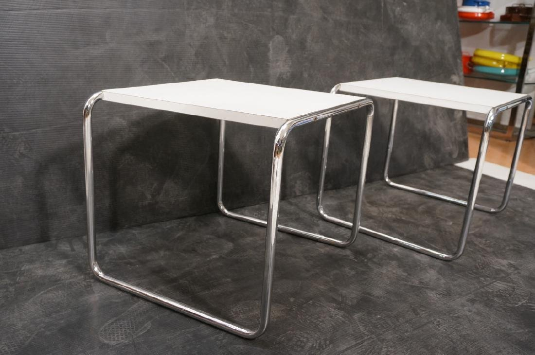 Pr Chrome Tube White Laminate Italian Side Tables - 3