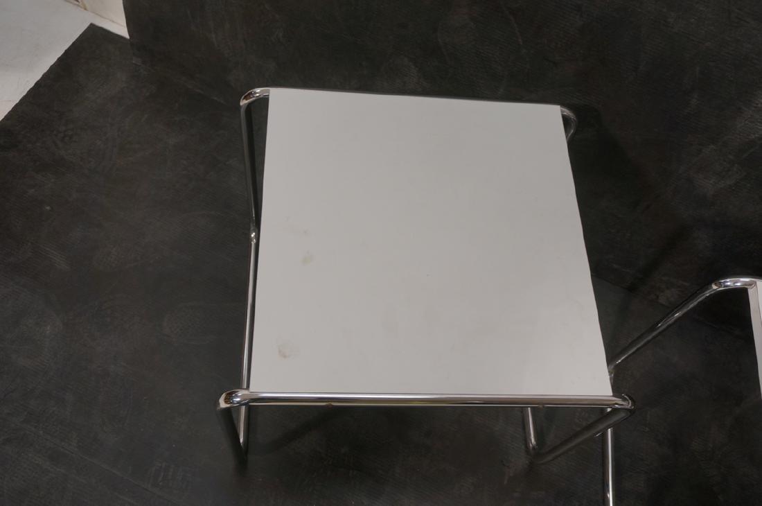 Pr Chrome Tube White Laminate Italian Side Tables - 4