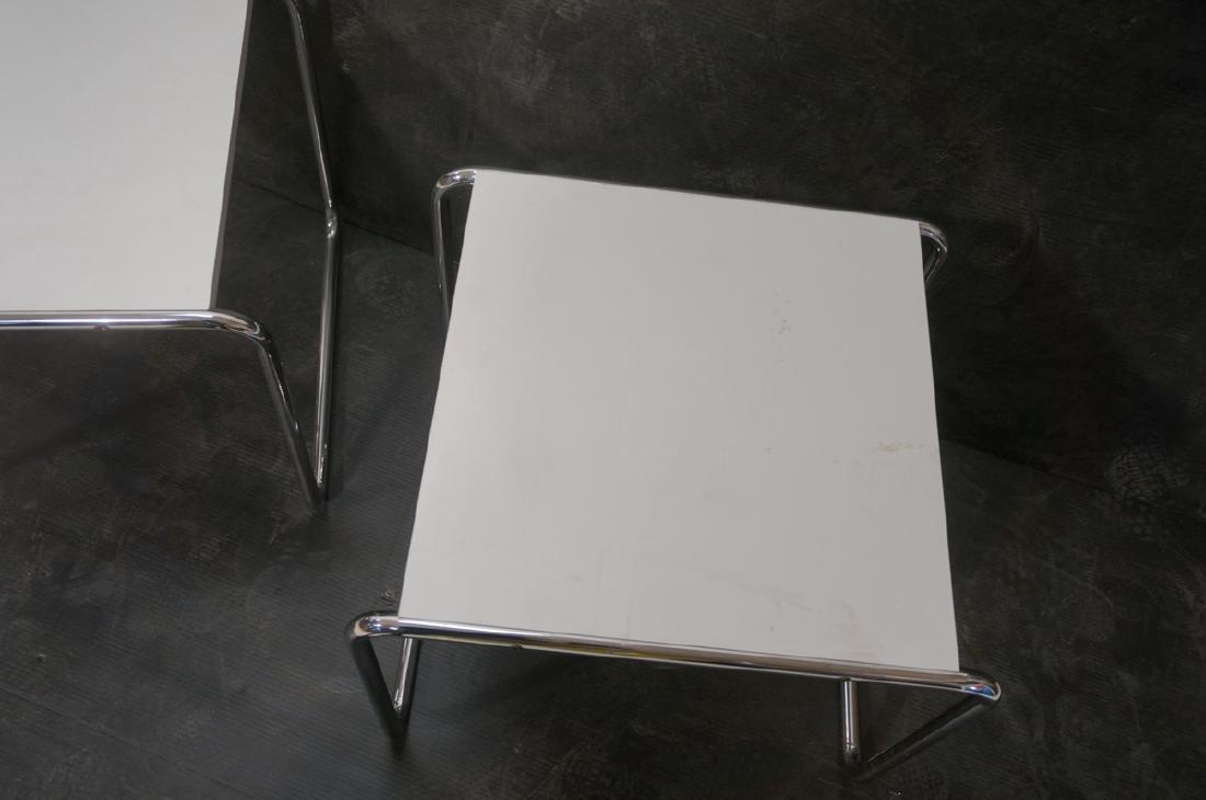 Pr Chrome Tube White Laminate Italian Side Tables - 5