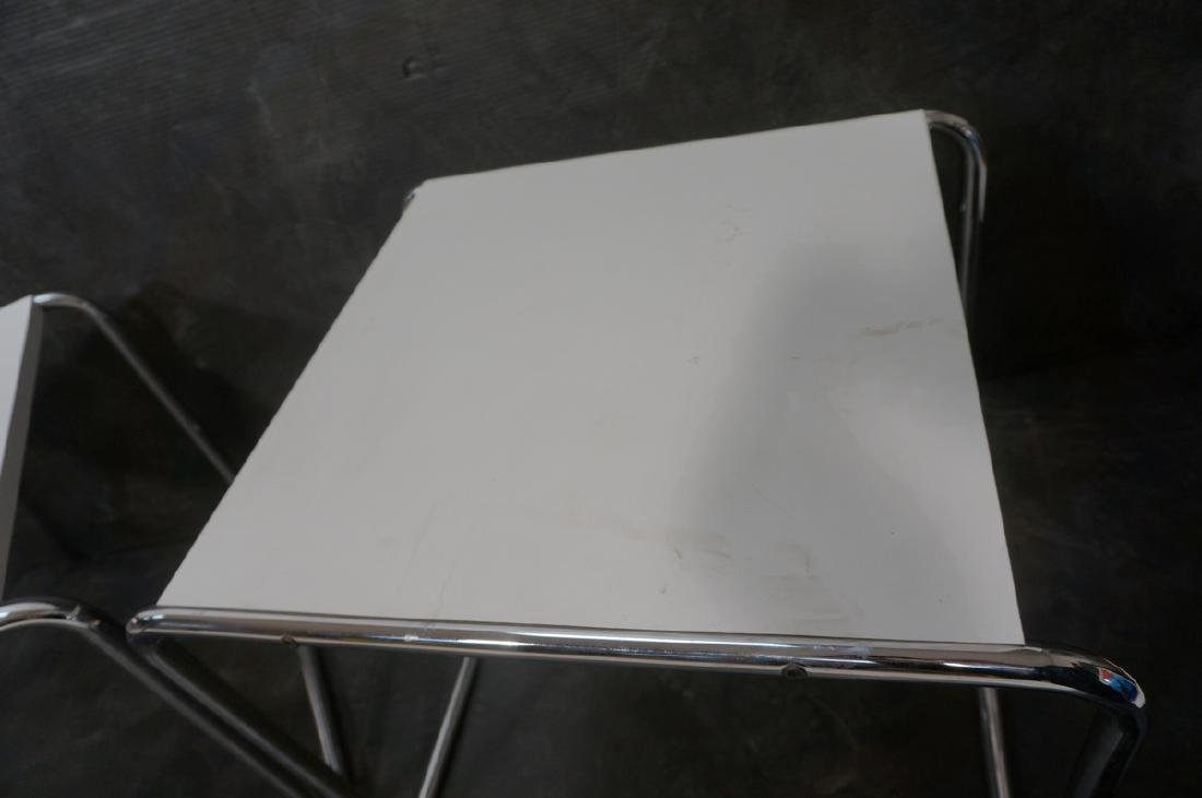 Pr Chrome Tube White Laminate Italian Side Tables - 9