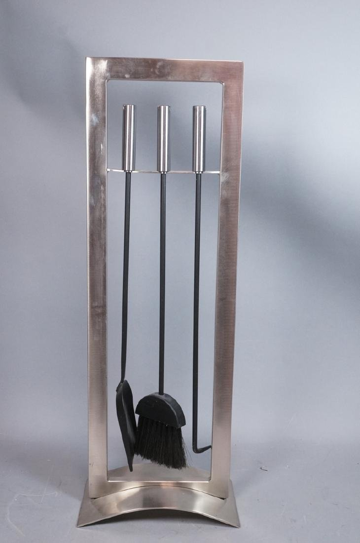 Stainless Modern Fireplace Tools & Stand. Rectang