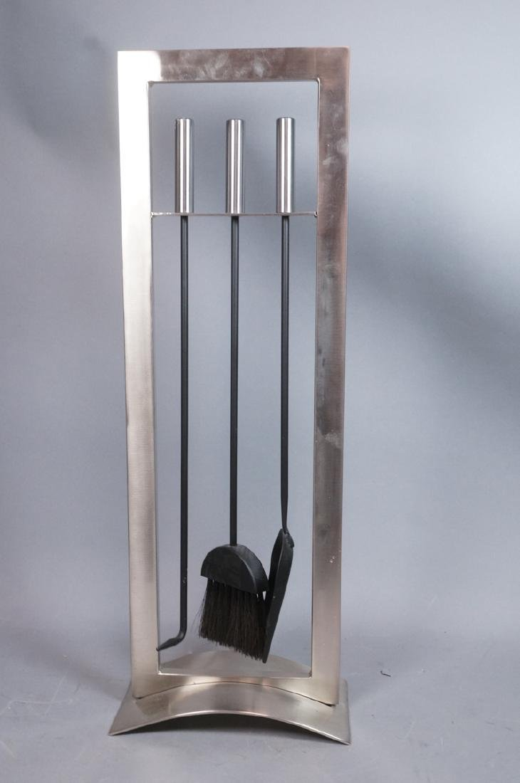 Stainless Modern Fireplace Tools & Stand. Rectang - 3