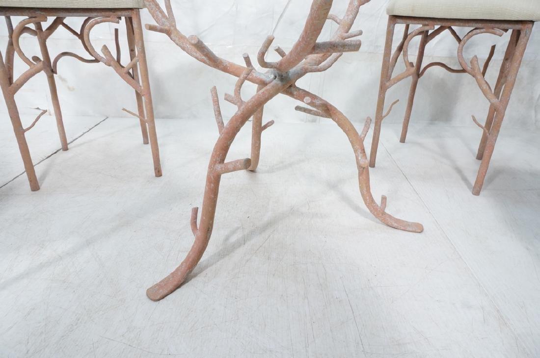 5pc Painted Aluminum Twig Coral Dinette Set. Roun - 10