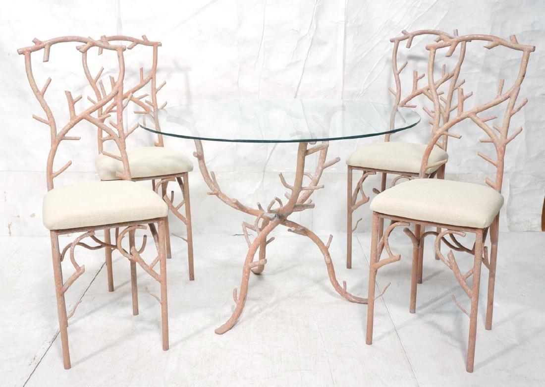 5pc Painted Aluminum Twig Coral Dinette Set. Roun