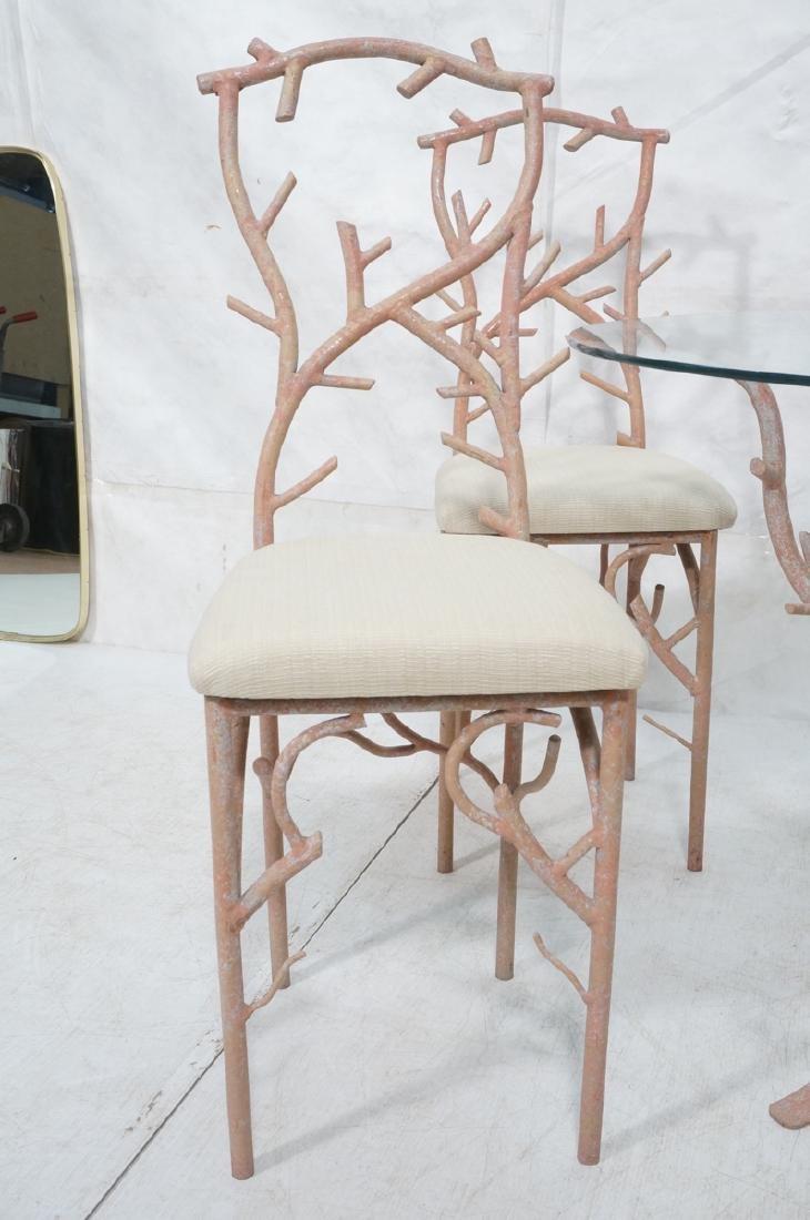 5pc Painted Aluminum Twig Coral Dinette Set. Roun - 2