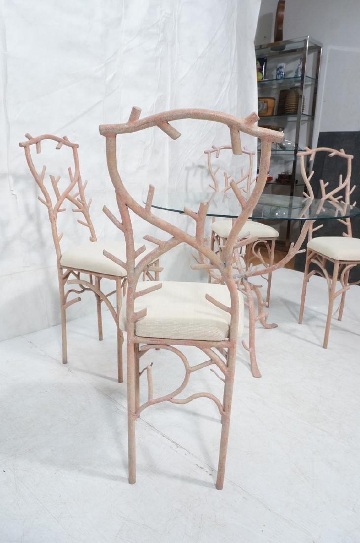 5pc Painted Aluminum Twig Coral Dinette Set. Roun - 4