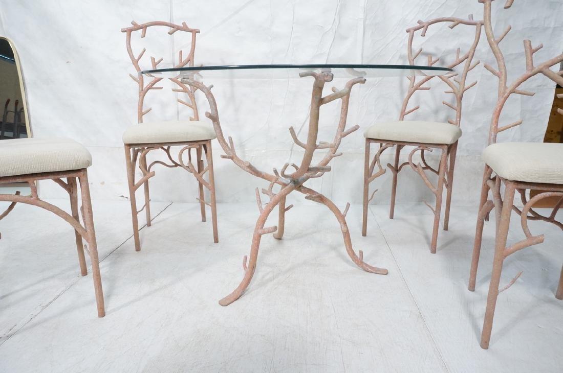 5pc Painted Aluminum Twig Coral Dinette Set. Roun - 6