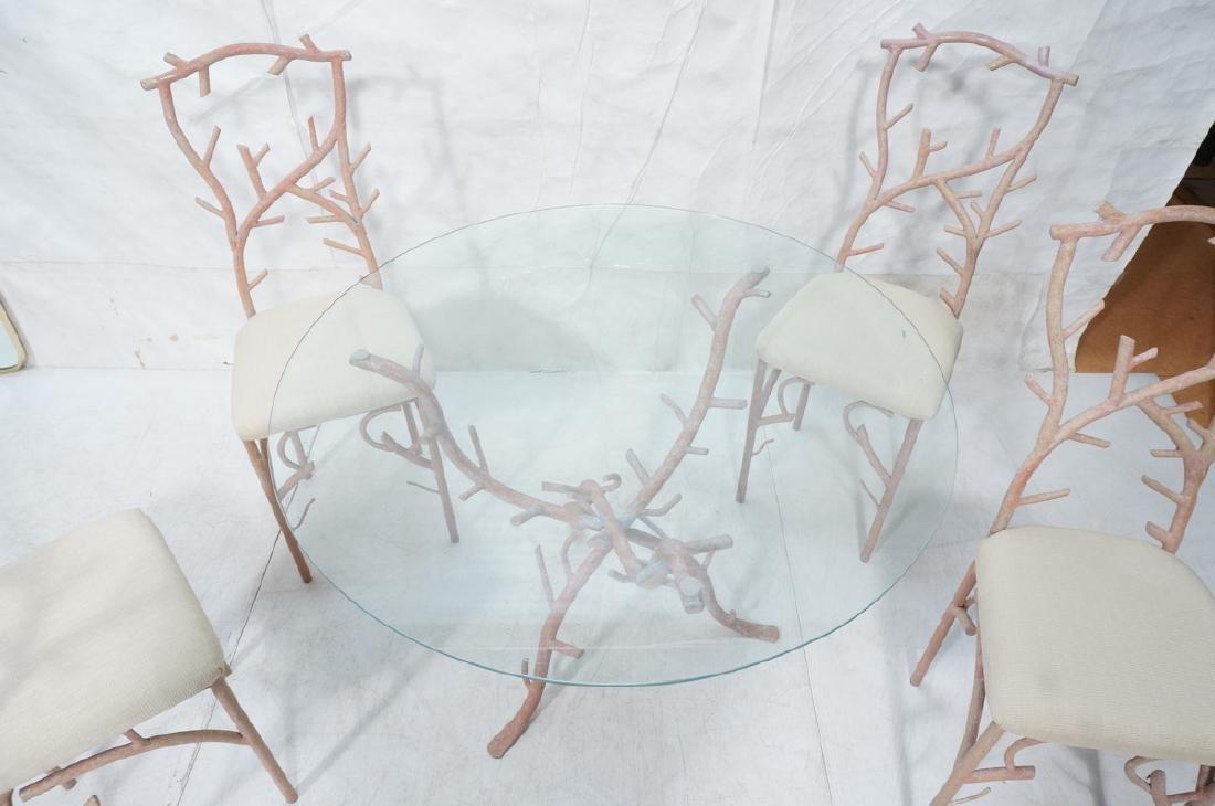 5pc Painted Aluminum Twig Coral Dinette Set. Roun - 7