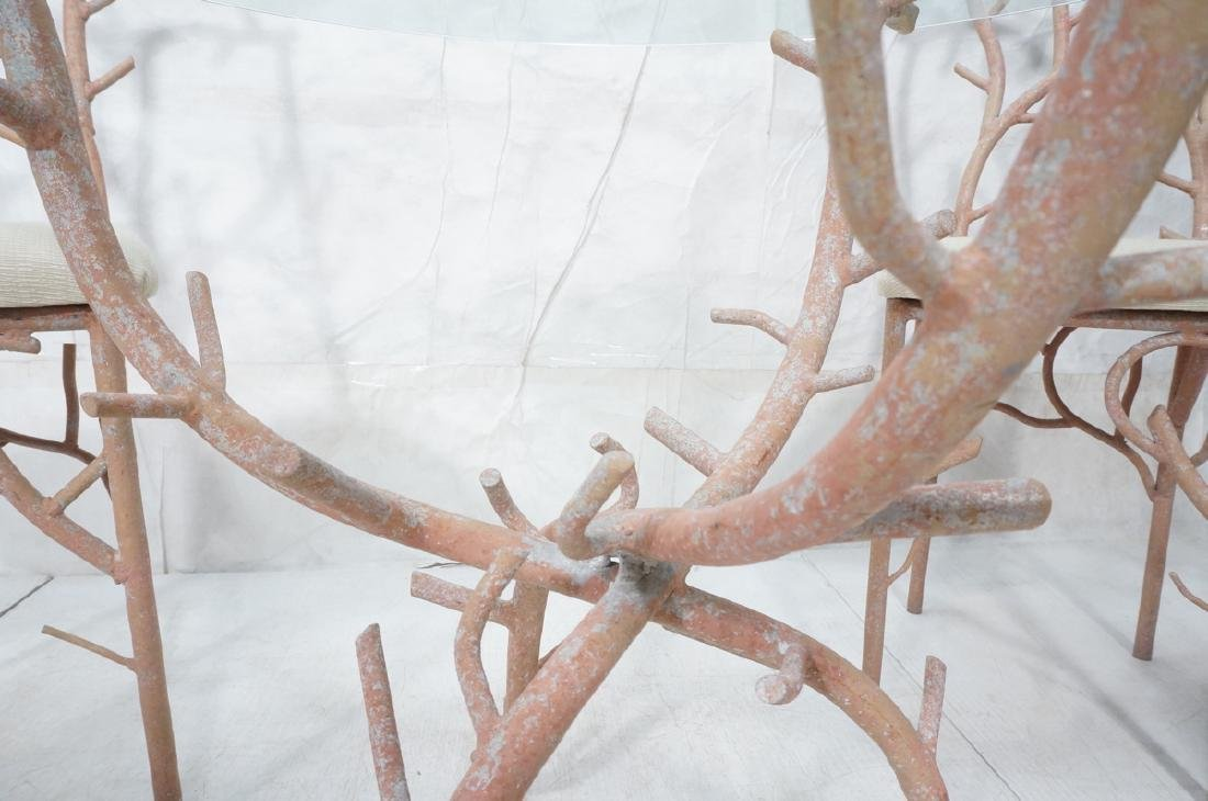 5pc Painted Aluminum Twig Coral Dinette Set. Roun - 8