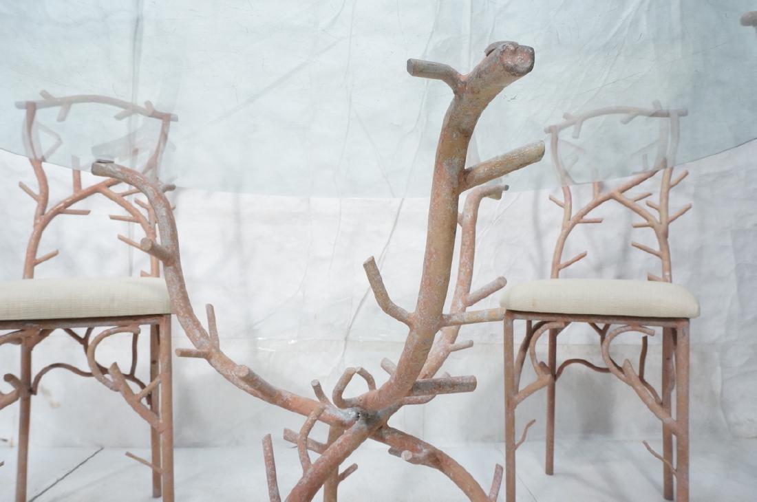5pc Painted Aluminum Twig Coral Dinette Set. Roun - 9