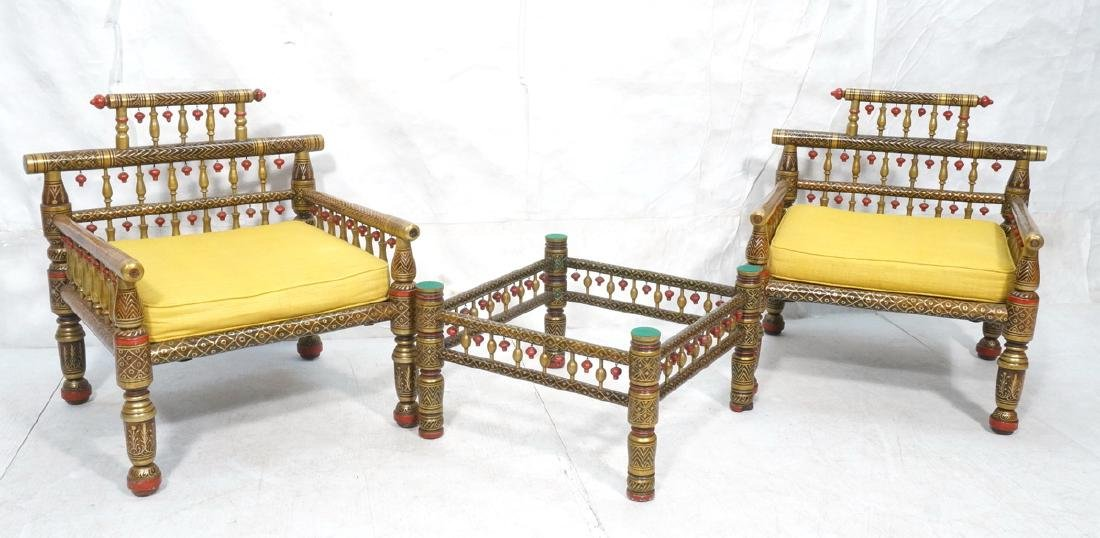 2 East Indian Style Decorator Chairs. Ottoman. Hi