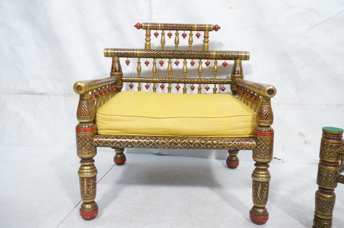 2 East Indian Style Decorator Chairs. Ottoman. Hi - 3